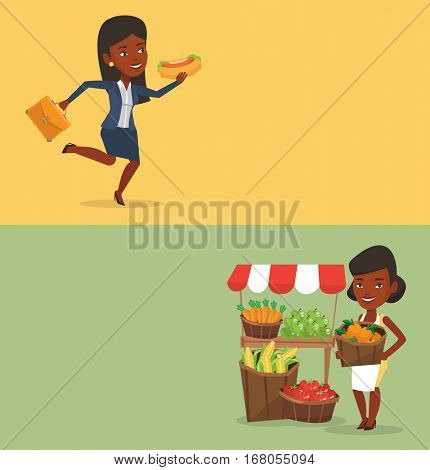 Two food banners with space for text. Vector flat design. Horizontal layout. Business woman in a hurry eating hot dog. Business woman eating on the run. Business woman running and eating hot dog.