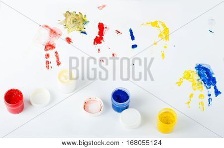 cute paint hands of child isolated on white background for art