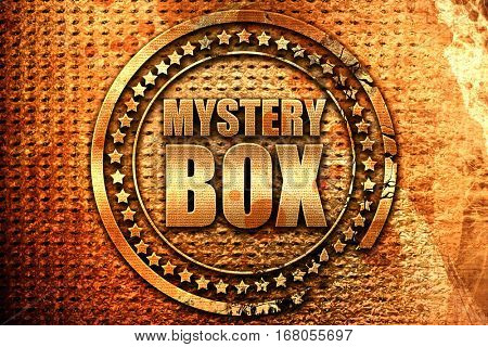 mystery box, 3D rendering, grunge metal stamp