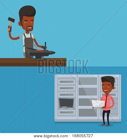 Two industrial banners with space for text. Vector flat design. Horizontal layout. African engineer with laptop working in network server room. Young network engineer using laptop in server room.