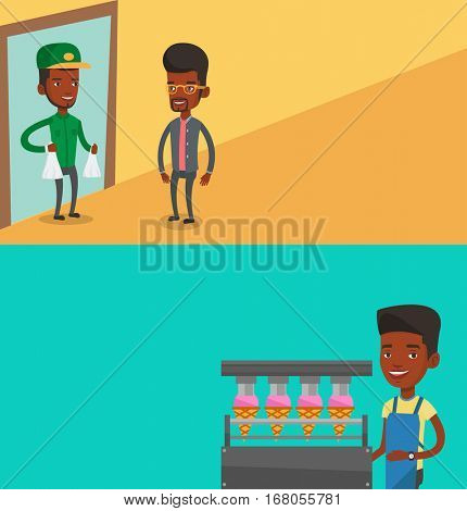 Two industrial banners with space for text. Vector flat design. Horizontal layout. Worker of ice cream manufacture. Worker of factory producing ice-cream. Man working on production line of ice cream.