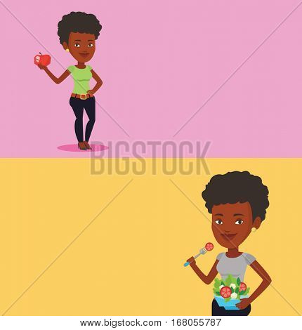 Two drinks banners with space for text. Vector flat design. Horizontal layout. Woman eating healthy vegetable salad. Young woman enjoying fresh vegetable salad. Woman holding bowl with vegetable salad