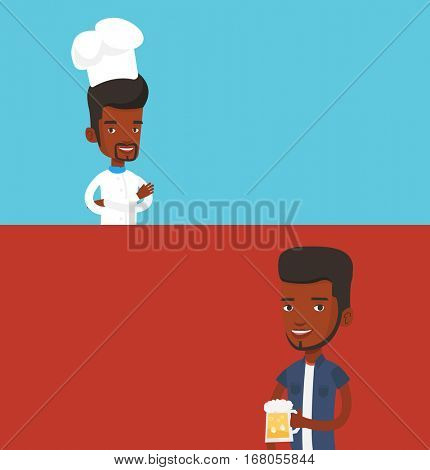 Two food banners with space for text. Vector flat design. Horizontal layout. Male african-american cheerful chief cook in uniform and hat standing with arms crossed. Young confident male chef cook.