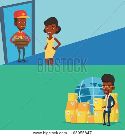 Two industrial banners with space for text. Vector flat design. Horizontal layout. Delivery man delivering online grocery shopping order. Young woman receiving groceries from delivery man at home.