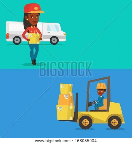 Two industrial banners with space for text. Vector flat design. Horizontal layout. African-american delivery courier holding box on the background of truck. Delivery courier carrying cardboard box.