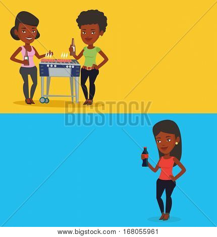 Two drinks banners with space for text. Vector flat design. Horizontal layout. African woman holding fresh soda beverage in glass bottle. Young woman standing with bottle of soda. Woman drinking soda.
