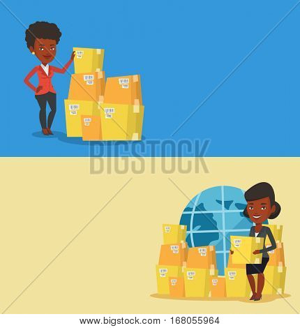 Two industrial banners with space for text. Vector flat design. Horizontal layout. African businesswoman checking boxes in warehouse. Young business woman preparing goods for dispatch in warehouse.