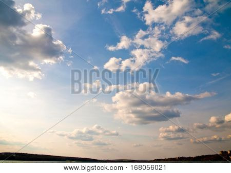 Exciting blue sky with beautiful white clouds