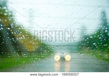 Unfocused trees at roadside. Focus on raindrops