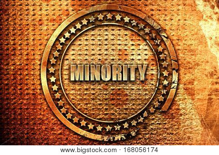 minority, 3D rendering, grunge metal stamp