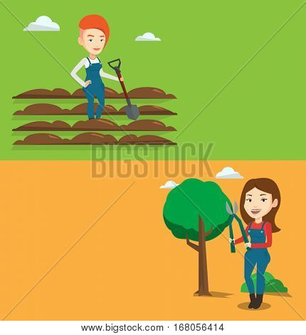 Two agricultural banners with space for text. Vector flat design. Horizontal layout. Farmer standing with shovel on plowed field. Woman working in field with shovel. Woman plowing field with a shovel.