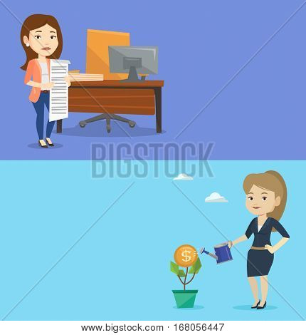 Two business banners with space for text. Vector flat design. Horizontal layout. Business woman watering financial flower. Woman investing in future financial safety. Woman taking care of finances.