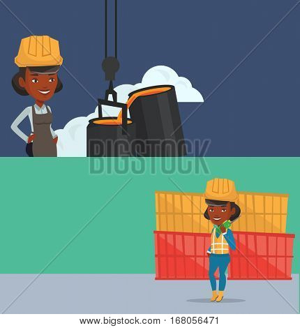 Two industrial banners with space for text. Vector flat design. Horizontal layout. Port worker talking on radio. Port worker standing on cargo containers background. Port worker using wireless radio.