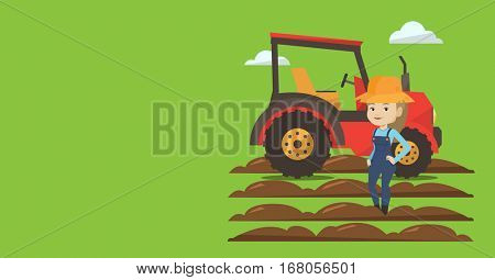 Agricultural banner with space for text. Vector flat design. Horizontal layout. Caucasain farmer in summer hat standing on the background of tractor preparing land. Farmer standing in front of tractor