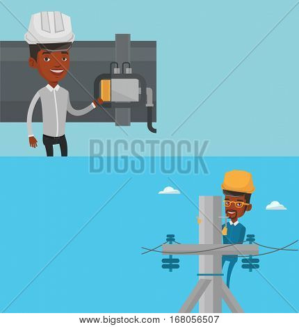 Two industrial banners with space for text. Vector flat design. Horizontal layout. Young african electrician in hard hat working on electric power pole. Electrician at work on electric power pole.