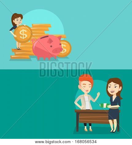 Two business banners with space for text. Vector flat design. Horizontal layout. Business woman putting money in a big piggy bank. Business woman saving her money in a piggy bank. Saving money concept