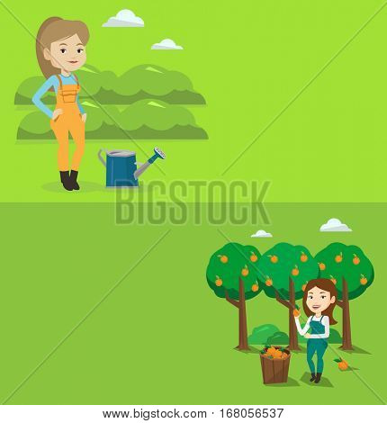 Two agricultural banners with space for text. Vector flat design. Horizontal layout. Gardener holding an orange on the background of orange trees. Young caucasian gardener collecting oranges in basket