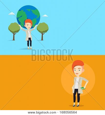 Two business banners with space for text. Vector flat design. Horizontal layout. Business woman putting money bribe in her pocket. Business woman hiding money bribe in jacket pocket. Bribery concept.