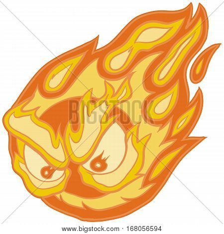 Vector Clip Art Cartoon Illustration of a Fireball Mascot with Angry Eyes.