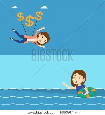 Two business banners with space for text. Vector flat design. Horizontal layout. Business woman flying with dollar signs. Business woman gliding in sky with dollars. Woman using dollars as parachute.