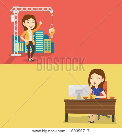 Two business banners with space for text. Vector flat design. Horizontal layout. Sleepy tired businesswoman yawning while working in office. Exhausted businesswoman yawning and drinking coffee at work