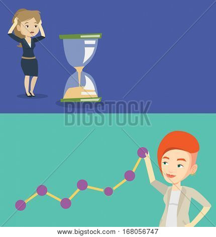 Two business banners with space for text. Vector flat design. Horizontal layout. Businesswoman looking at hourglass symbolizing deadline. Business woman worrying about deadline terms. Deadline concept
