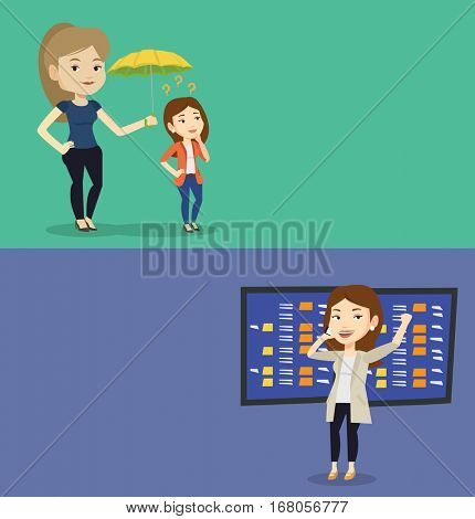 Two business banners with space for text. Vector flat design. Horizontal layout. Business woman talking on phone on the background of display of stock market quotes. Stockbroker at stock exchange.