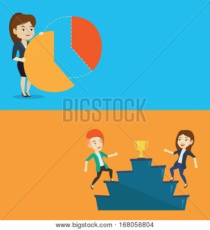Two business banners with space for text. Vector flat design. Horizontal layout. Shareholder taking share of financial pie chart. Shareholder getting her share of profit. Business woman sharing profit