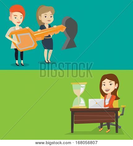 Two business banners with space for text. Vector flat design. Horizontal layout. Business women standing in front of keyhole with key. Business team holding key to success. Young women carrying key.