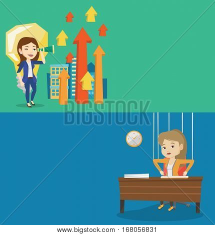 Two business banners with space for text. Vector flat design. Horizontal layout. Business woman marionette hanging on strings like a puppet. Business woman marionette on ropes sitting at the table.