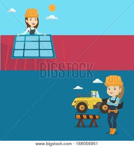 Two construction banners with space for text. Vector flat design. Horizontal layout. Technician installing solar panel on roof. Technician checking solar panel on roof. Eengineer adjusting solar panel