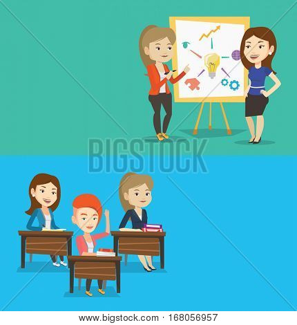 Two educational banners with space for text. Vector flat design. Horizontal layout. Two caucasian students discussing a project. Students working on a project. Student drawing project on a board.