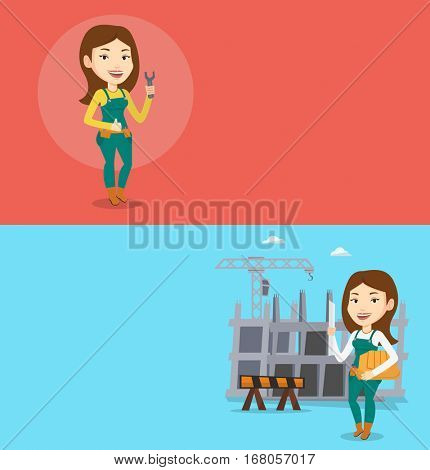 Two construction banners with space for text. Vector flat design. Horizontal layout. Repairman standing with spanner in hand. Caucasian repairman giving thumb up. Repairman in overalls holding spanner
