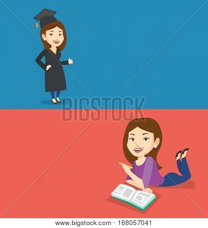 Two educational banners with space for text. Vector flat design. Horizontal layout. Graduate in cloak and graduation cap. Graduate giving thumb up. Joyful graduate celebrating. Concept of education.