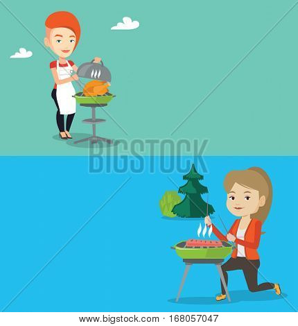 Two food banners with space for text. Vector flat design. Horizontal layout. Woman cooking chicken on barbecue grill outdoors. Woman preparing chicken on barbecue grill. Woman having a barbecue party.