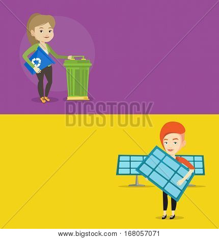 Two ecology banners with space for text. Vector flat design. Horizontal layout. Worker of solar power plant holding solar panel. Woman with panel standing on the background of solar power plant.