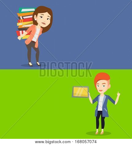Two educational banners with space for text. Vector flat design. Horizontal layout. Student using tablet computer. Student holding tablet computer and pointing finger up.Educational technology concept