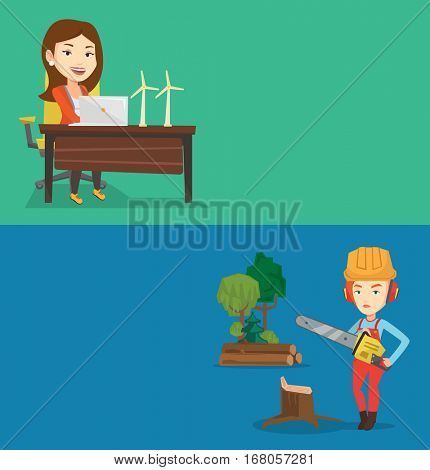 Two ecology banners with space for text. Vector flat design. Horizontal layout. Engineer working on laptop. Engineer projecting wind turbines in his office. Woman working with model of wind turbines.