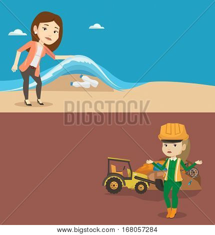 Two ecology banners with space for text. Vector flat design. Horizontal layout. Female worker of rubbish dump standing with spread arms. Worker of rubbish dump standing on the background of bulldozer.