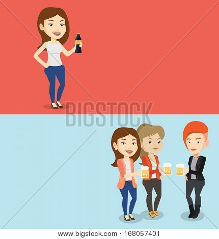 Two drinks banners with space for text. Vector flat design. Horizontal layout. Beer fans toasting and clinking glasses. Group of friends enjoying a beer in pub. Young caucasian friends drinking beer.
