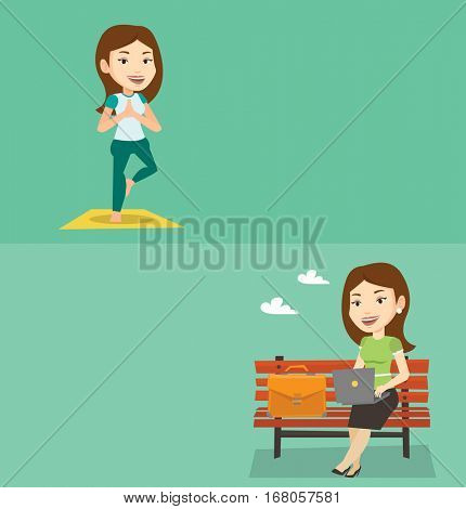 Two lifestyle banners with space for text. Vector flat design. Horizontal layout. Caucasian woman standing in yoga tree pose. Young smiling woman meditating in yoga tree position. Woman doing yoga.