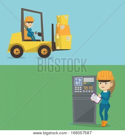 Two industrial banners with space for text. Vector flat design. Horizontal layout. Warehouse worker loading cardboard boxes. Forklift driver at work in warehouse. Warehouse worker driving forklift.
