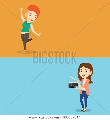 Two media banners with space for text. Vector flat design. Horizontal layout. Woman working with a clapperboard. Caucasian woman holding an open clapperboard. Woman holding blank movie clapperboard.