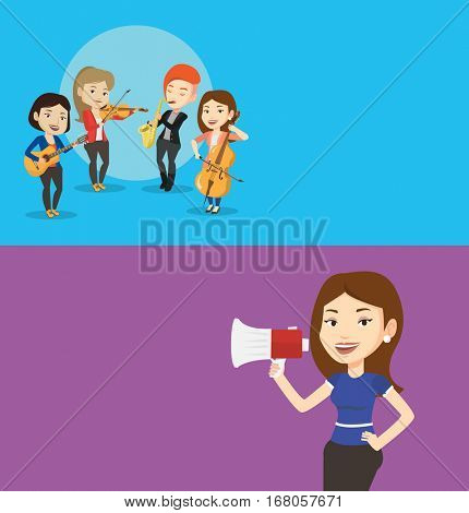 Two media banners with space for text. Vector flat design. Horizontal layout. Band of caucasian musicians playing on musical instruments. Group of young musicians playing on musical instruments.