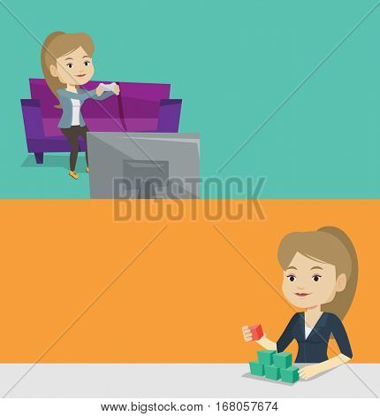Two media banners with space for text. Vector flat design. Horizontal layout. Gamer sitting on sofa and playing video game on television. Woman with gaming console in hands playing video game at home.