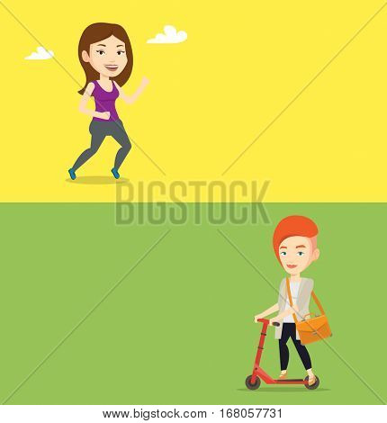Two lifestyle banners with space for text. Vector flat design. Horizontal layout. Woman riding a kick scooter. Business woman with briefcase riding to work on scooter. Business woman on kick scooter.