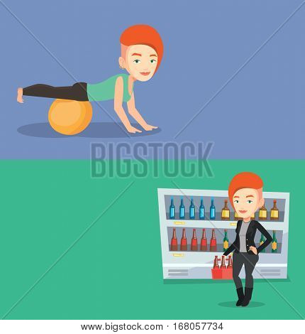 Two lifestyle banners with space for text. Vector flat design. Horizontal layout. Young caucasian woman doing exercises on fitball. Woman training triceps and biceps while doing push ups on fitball.