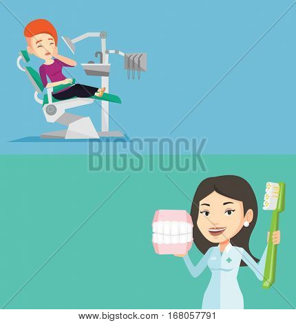 Two medical banners with space for text. Vector flat design. Horizontal layout. Patient visiting dentist because of toothache. Sad patient suffering from toothache. Woman having a strong toothache.