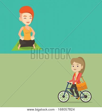 Two lifestyle banners with space for text. Vector flat design. Horizontal layout. Business woman riding a bicycle to work. Business woman with briefcase riding a bicycle. Healthy lifestyle concept