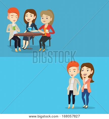 Two lifestyle banners with space for text. Vector flat design. Horizontal layout. Caucasian woman whispering a gossip to her friend. Two women sharing gossips. Smiling friends discussing gossips.